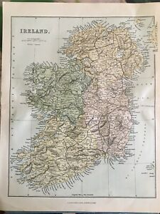 Map, printed coloured map of Ireland, circa 1875.