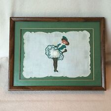 Vintage 1930s Naughty Handkerchief Pin Up Girl Applique Corset Framed Moon Lady