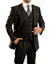 Men's Black Herringbone 3 Piece 2 Button Classic Fit Suit Vested