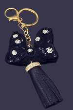 Jhonpeters Bow Black and Gold Tone Charm Keyring Keychain-JPKC991