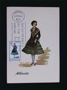 SPANIEN MK 1967 TRACHTEN ALBACETE COSTUMES MAXIMUMKARTE MAXIMUM CARD MC CM c5479