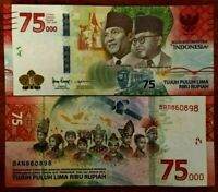 INDONESIA 75000 Rupiah 75,000 NEW 2020 x 1 Pce 75th COM. Hybrid Polymer Currency