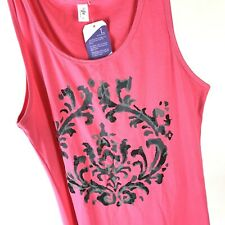 Womens Pink Tank Top TAFFY Plus Sz 2X Sleeveless Casual Floral  NWT