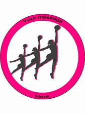 """Novelty Personalised Netball Silhouettes 7.5"""" Edible Wafer Paper Cake Topper"""