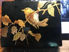 Antique Japanese Lacquer jewelry trinket BOX Bird on Branch design * Asian art