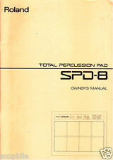 Roland SPD-8 Drum Percussion Electronic Pads Original Owner's User's Manual Book