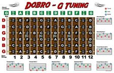 Dobro Fretboard Wall Chart Resonator Guitar Poster G Tuning Notes Rolls Chords