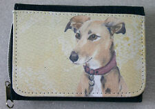 LURCHER HOUND GREYHOUND DOG DENIM BLUE FABRIC PURSE WALLET SANDRA COEN ARTIST