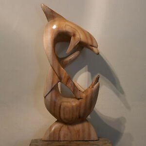 Superb Quality Hand Carved Plying Dolphins  50 x 22 Cm. Wide In Solid Asian Wood