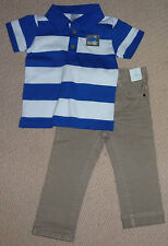 NWT Target Boys White Blue Stripe Polo T-Shirt Clay Jeans Summer Set Size 1 or 2