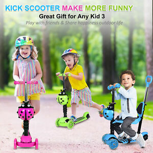 5 In 1 Kids Ride On Car First Push Scooter Walker Flashing Toddler 1-7 Goldshell