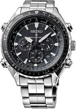 New Seiko Prospex Radio Sync Solar Chronograph Stainless Steel Mens Watch SSG001