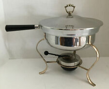 Vtg Stainless Steel Chafing Buffet Circular Fancy Catering Footed Serving Dish