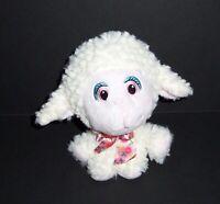 "6"" Walmart Lamb Sheep Plush Stuffed Animal Toy Cream Pink Floral Bow Big Head"