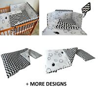 Baby Bedding Set fit Cot 120x60cm or Cot Bed 140x70+ BLACK CHEVRONS+MORE DESIGNS