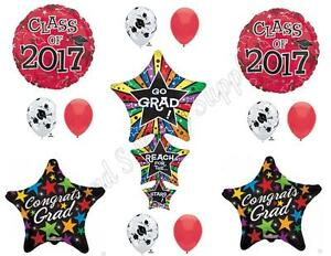 RED REACH FOR STARS CLASS OF 2017 Graduation Party Balloons Decoration Supplies