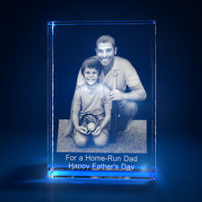 3D Laser Crystal Glass Personalized Etched Engrave Gift Father's Day Portrait M