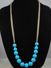 Kenneth Cole New York Antique Goldtone Turquoise Ball Sphere Long Necklace $48