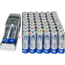50x AA battery batteries Bulk Rechargeable NI-MH 3000mAh 1.2V BTY + USB Charger