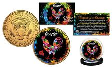 Chinese Zodiac PolyChrome Genuine JFK Half Dollar 24K Gold Gilded Coin - ROOSTER