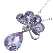 11.06 Ct Pear Cut Style Shape Purple Amethyst CZ 18K White Gold Plated Pendant