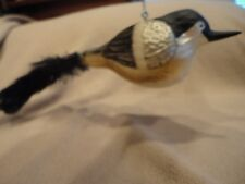 Christmas Ornament Mercury Glass Bird with Feather Tail