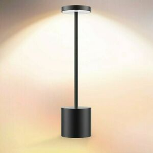 Cordless Table Lamp Led Metal Usb Rechargeable 2600Mah 2-Levels Brightness Black