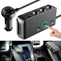 3 Way 12V Multi Car Cigarette Splitter Lighter Socket 4 USB Plug Charger Adapter