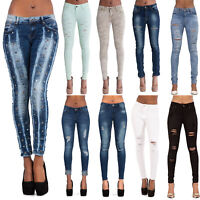 Womens High Waisted Ripped Knee Skinny Jeans Ladies jeggings Size 6 8 10 12 14