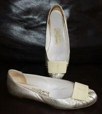 SALVATORE FERRAGAMO GOLDISH SILVER LEATHER SLIP ON BALLETS WOMEN SZ 6.5 M