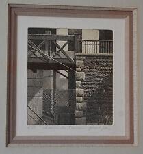 """Gravure, noir et blanc """"Chemin de travers"""" de Gérard JAN néen 1961, signée ,4/80"""