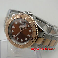 40mm bliger brown dial sapphire crystal magnifying date automatic mens watch P84