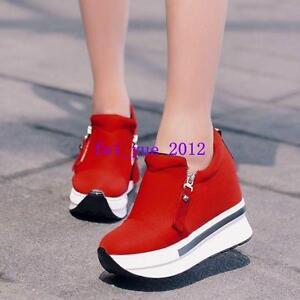 Hot Women Hidden Heels Platform Sneakers Side Creeper  High Heels Shoes Slip on