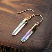 1Pcs Solar Quartz Crystal Ring Natural Gemstone Band Ring Gold Plated HOT HG0439