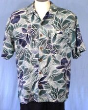 Tommy Bahama Blue Green Medium Hawaiian Shirt Flowers Leaves Silk