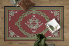 Transitional Living Room Area Rug with Nonslip Backing, Red Medallion Pattern