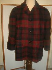 Vintage Pendleton Wool Jacket plaid Coat dark Burgundy Black Brown men Size L/XL
