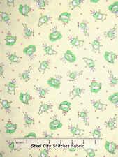 Frog Animal Fabric - Green Toad Prince Yellow C3688 Timeless Treasures - Yard