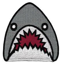ak99 Haifisch Grau Hai Fisch Shark Aufnäher Bügelbild Patch Flicken 6,5 x 6,8 cm