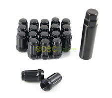 20pc 12x1.25 Spline Black Lug Nuts w/ Key (Cone Seat) Long Closed End Locking