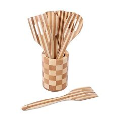 7 Piece Bamboo Utensil Set Wooden Spoons Kitchen Cooking Tools Wood Spatula KIT