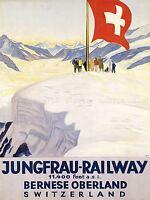 TRAVEL TOURISM JUNGFRAU RAILWAY SWISS FLAG SWITZERLAND ALPS PRINT LV4282
