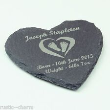 Christening Gift, Personalised Heart Shaped Slate Coasters, Engrave With Any Msg