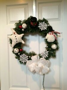 Country decor Snowman faux evergreen wreath Black and White
