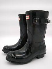 Hunter Women's Original Short Rain Boot, Gloss Black, Size 6 US