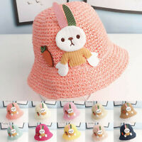 Summer Baby Girls Cartoon Rabbits Princess Breathable Hat Straw Bucket Cap