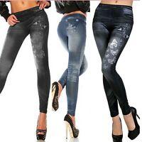 New Womens Denim Look Leggings Jeans Jeggings Stretchy Skinny Full Length Pants