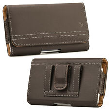 Brown Genuine Leather Case Clip Luxmo Horizontal Pouch for Apple iPhone X