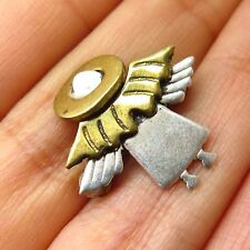 Vtg 925 Sterling Silver 2 Tone Angel Small Pin Brooch