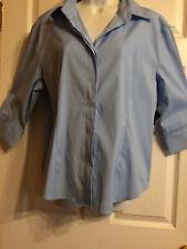 DCC Missy Womens Light Blue Pinstripe Button Up Shirt Blouse Top Size XL